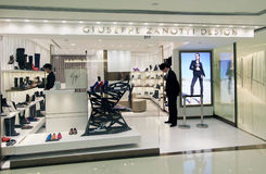 Giuseppe Zanotti Design shop in Hong Kong Royalty Free Stock Photo