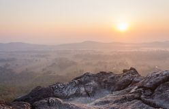 Giusta alba al viaggio di Pha Hua Rue Phayao Attractions Northern Thailand fotografia stock