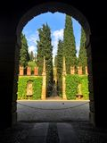 Giusti宫殿和庭院,维罗纳,意大利 免版税库存照片