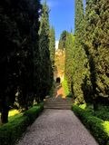 Giusti宫殿和庭院,维罗纳,意大利 免版税图库摄影