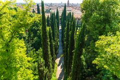 Giusti庭院在维罗纳,意大利 库存图片