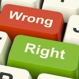 Giusti e tasti del computer sbagliati che mostrano convalida o Deci di risultati Immagine Stock