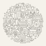Giustizia di legge e linea forma di crimine del cerchio fissata icone Immagine Stock Libera da Diritti