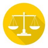 Giustizia Scale Icon con ombra lunga Fotografia Stock Libera da Diritti