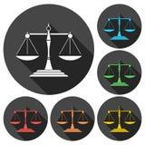 Giustizia Scale Icons messo con ombra lunga Immagini Stock Libere da Diritti