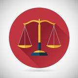 Giustizia Scales Icon di simbolo dell'equilibrio di legge su alla moda Immagini Stock Libere da Diritti