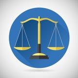Giustizia Scales Icon di simbolo dell'equilibrio di legge su alla moda Immagini Stock