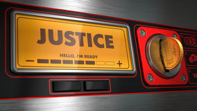Giustizia su esposizione del distributore automatico Immagine Stock