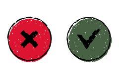 GIUSTO ed annulli il bottone di web di vettore dell'icona Fotografia Stock Libera da Diritti