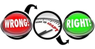 Giusto momento di luci a livello sbagliato adattare il diagramma dell'orologio Fotografia Stock Libera da Diritti
