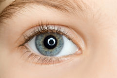 Giusto occhio azzurro del bambino con i cigli lunghi immagini stock libere da diritti