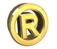 Giusto simbolo riservato in oro - 3d illustrazione di stock
