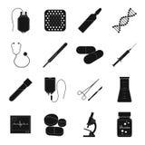 Givare, murbruk, vaccin och annan läkarundersökning, medicinutrustning Läkarundersökning fastställda samlingssymboler för medicin vektor illustrationer