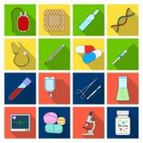 Givare, murbruk, vaccin och annan läkarundersökning, medicinutrustning Läkarundersökning fastställda samlingssymboler för medicin stock illustrationer