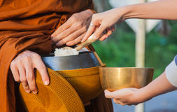Give alms to a Buddhist monk. Woman give alms to a Buddhist monk on morning royalty free stock image