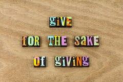 Give att ge sig hjälper vänlighet att donera bra orsaksvälgörenhet royaltyfri bild
