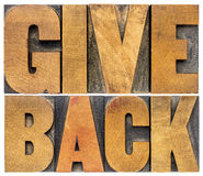 Give back typography in wood type Royalty Free Stock Images