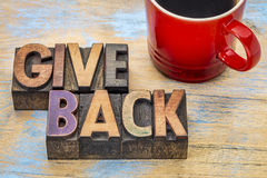 Give back word abstract in wood type Royalty Free Stock Images