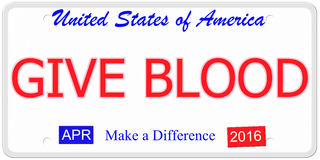 Give Blood License Plate Royalty Free Stock Photos