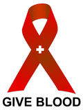 Give Blood Ribbon. An illustration of a red ribbon asking people donate blood Stock Image