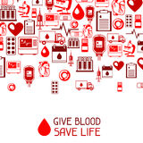 Give blood save life. Background with blood donation items. Medical and health care objects Stock Image