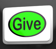 Give Button Means Bestowed Allot Or Grant Royalty Free Stock Photo