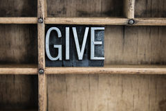 Give Concept Metal Letterpress Word in Drawer Stock Image