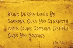 Give courage Lao Tzu stock photography