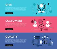 Give Customers Quality. Web banners  set Stock Image