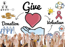 Give Donations Volunteer Welfare Support Concept Stock Photo