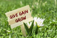 Give gain grow. On wooden sign in garden with spring flower Royalty Free Stock Photography