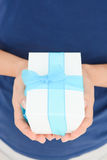 Give a gift for at a special event. Give a present for at a special event Stock Image