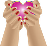 Give hands heart. Female hands lifted high show and give all your heart Royalty Free Stock Image