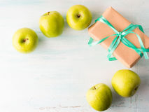 Give health eating healthy food green apples concept Royalty Free Stock Photos