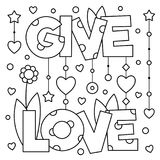 Give love. Coloring page. Vector illustration. Black and white vector illustration. Give love Royalty Free Stock Photo