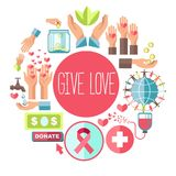 Give love social charity vector poster for blood donation and volunteer fund organization. Give love poster fro social charity and donation action of icons for vector illustration