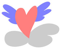 Give love wings. Clip art illustration of a heart with wings, flying through the clouds Royalty Free Stock Photography