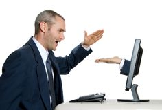 Give me 5!. Man giving a high five to internet hand royalty free stock image