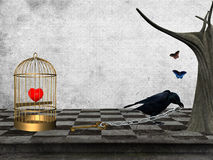 Give me back my hearts. A crown like a thief takes away the key for the cage with the prisoner heart Stock Images
