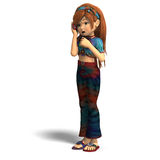 Give me a call. Young toon girl gives someone a call. With clipping path and shadow over white vector illustration
