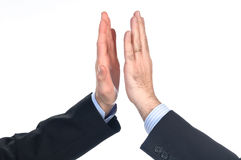 Give me five!. Give me five between businessman men stock images