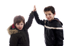 Give-me a five, between two boys Stock Photography