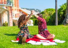 Give me a high five. Two young female friends sitting on an outside green grass park lawn, happy and studying, satisfied with their hard work and giving each stock image
