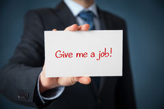 Give me a job. Young businessman hold paper card with text Give me a job. Unemployed person (jobless, out of work) concept royalty free illustration