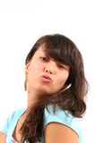 Give me a kiss!. Beautiful asian woman blowing a kiss Royalty Free Stock Photography