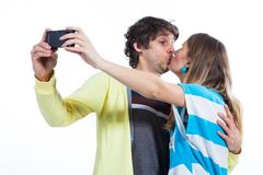 Give me a kiss in front of camera Royalty Free Stock Photo