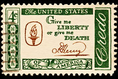 Give me Liberty or give me Death Postal Slogan. The quotation was created by Patrick Henry Give me Liberty or give me Death Postal stamp was issued as part of Royalty Free Stock Photo