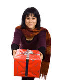 Give me a present. Young woman giving or receving a red present Stock Image