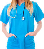 Give me something to do. Jobless doctor with her hands in her pocket stock photo