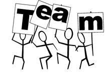 Give me a Team!. A conceptual stickman figure of team & teamwork Stock Photography